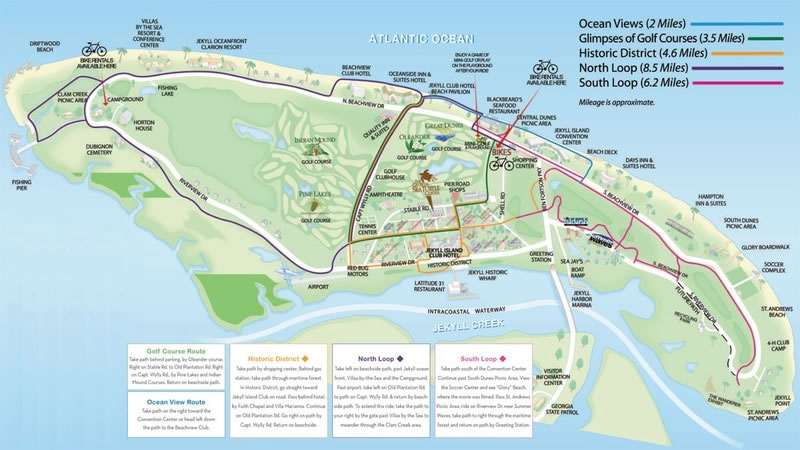 Jekyll Island Bike Paths Map