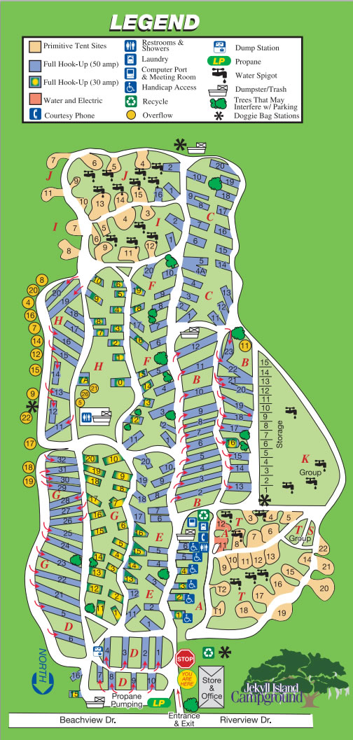 Map of Jekyll Island Campground